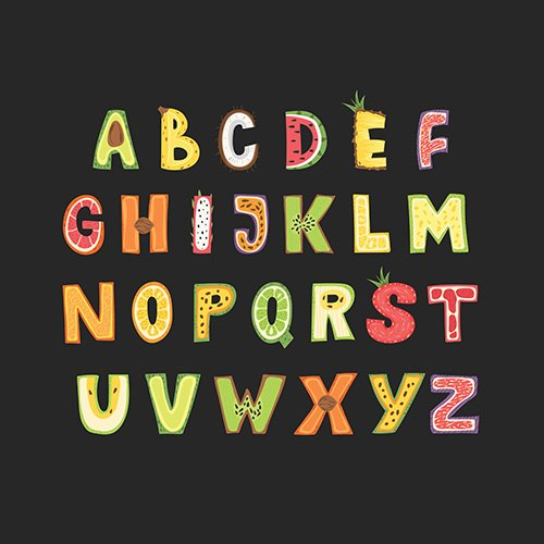 Fruit alphabet - lettering design