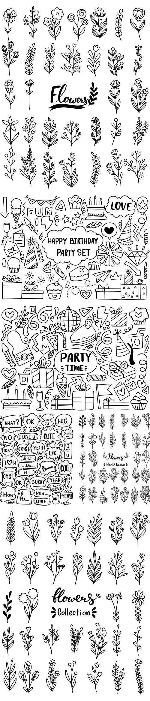Hand drawn party doodle cute speech bubble eith text and flowers
