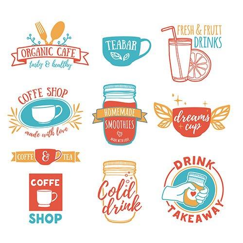 Set retro vintage logos for coffee shop, tea bar