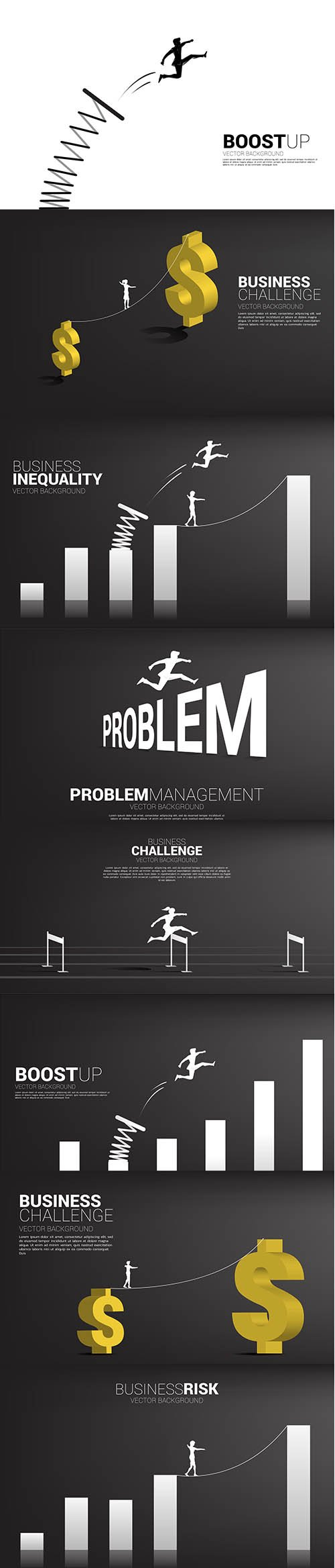 Silhouette businessman jumping across problem background concept for crisis