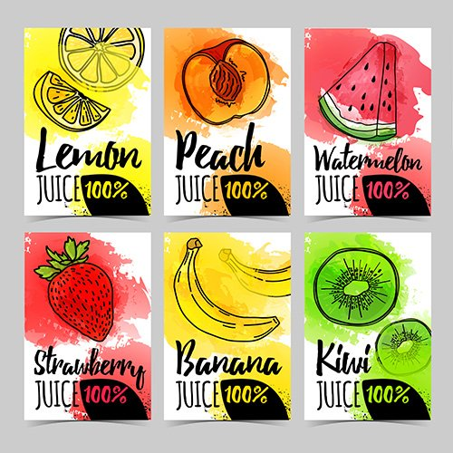 Set template design card with watercolor fruits decoration