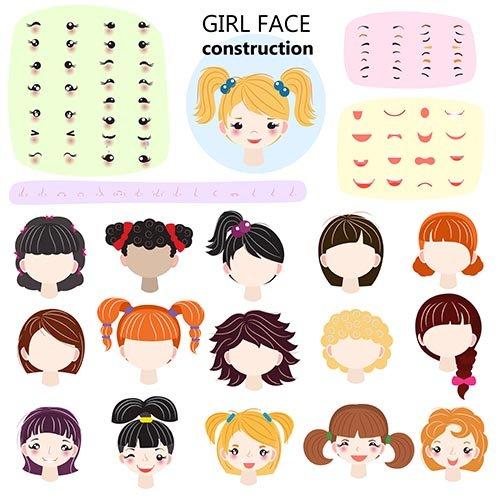 Girl face constructor vector kids character avatar
