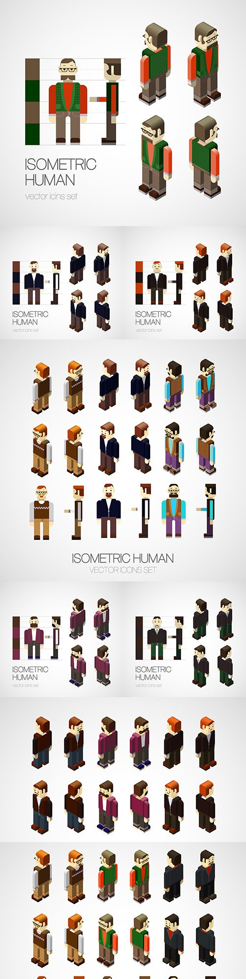 Business people in a strict suit isometric set