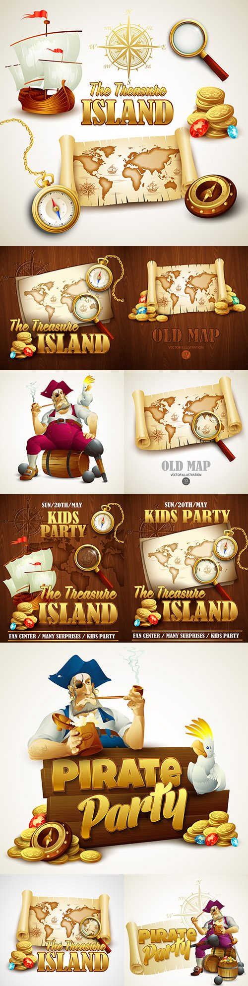 Treasure Island map and pirate party poster template