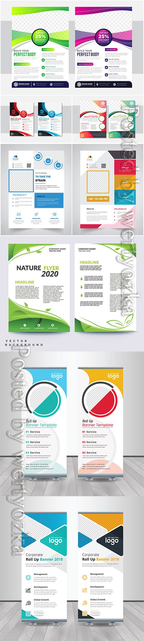 Annual report concept flyer template, roll up business