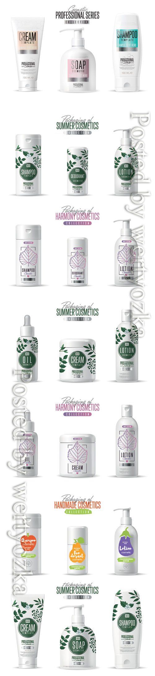 Organic cosmetic brand vector packaging template