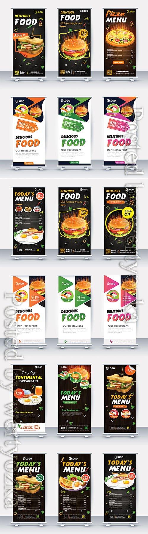 Fast food roll up banner, vector restaurant menu template