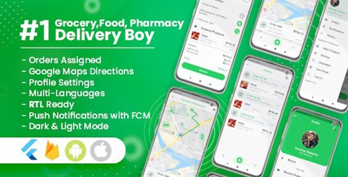 CodeCanyon - Delivery Boy for Groceries, Foods, Pharmacies, Stores Flutter App v1.0.1 - 26615174