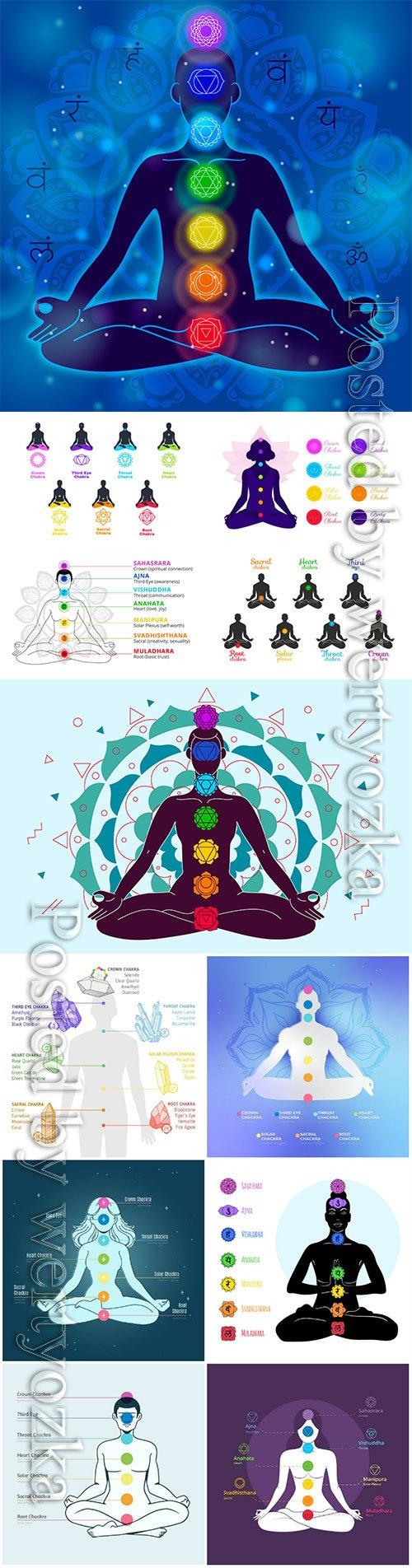Body chakras concept vector illustration