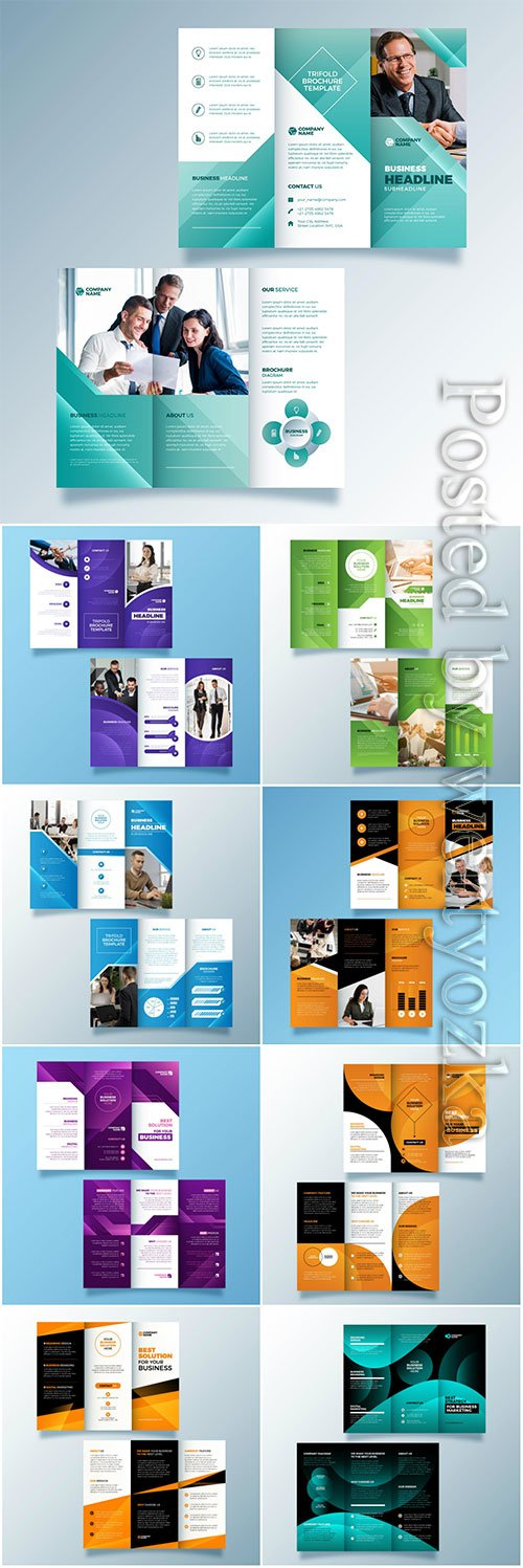 Trifold brochure vector template with photo