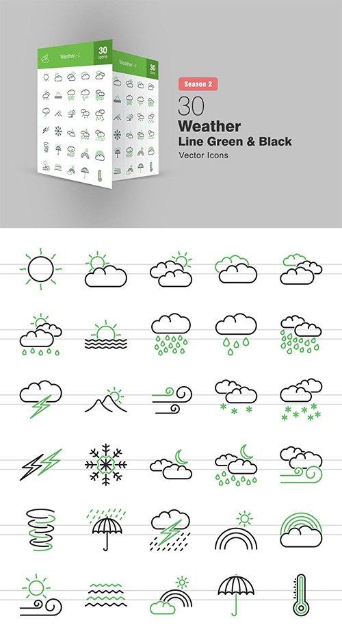 30 Weather Line Green & Black Icons Season II