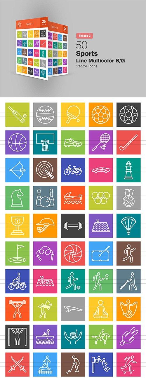 50 Sports Line Multicolor B/G Icons Season II