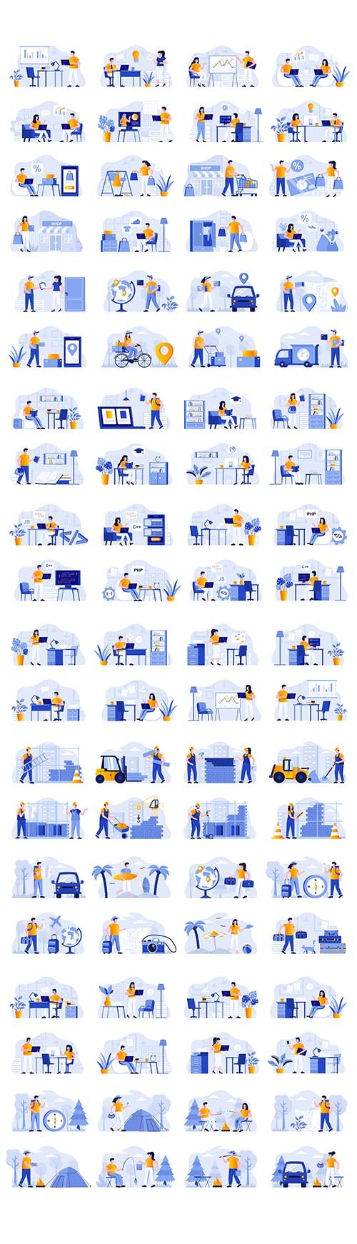 Business Scenes Bundle with People Characters Flat Illustration