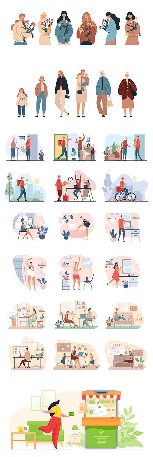 Various People Flat Vector Illustration