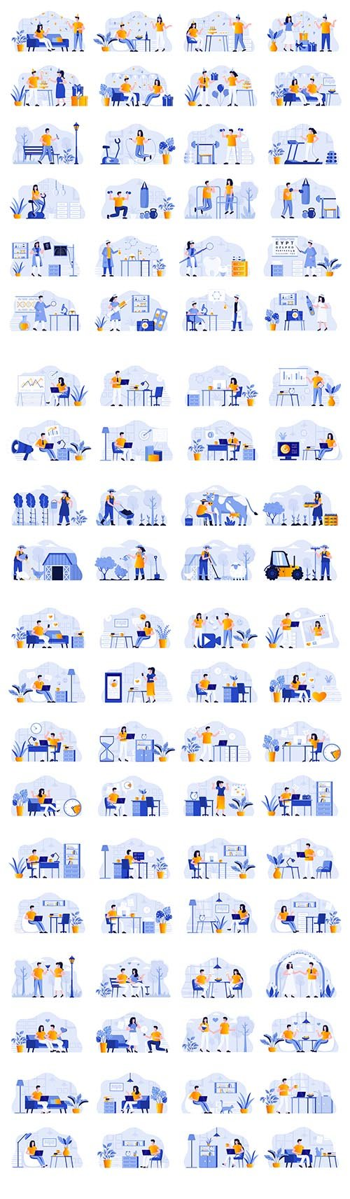 Business Scenes Bundle with People Characters Flat Illustration Vol 2