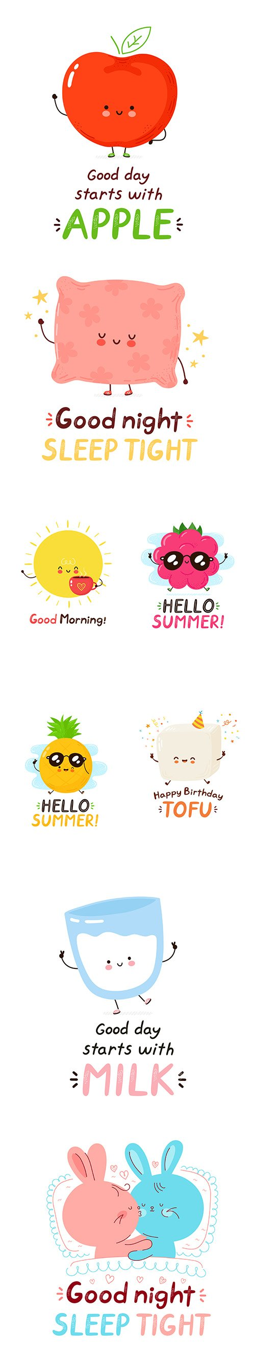 Cute Happy Card Cartoon Character Illustrations