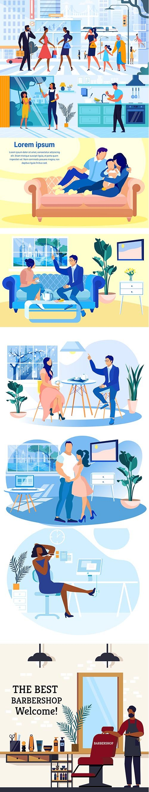 Young People Live Vector Illustrations