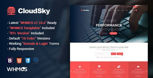 ThemeForest - CloudSky v1.7 - Multipurpose Domain, Hosting and WHMCS Template - 20729612