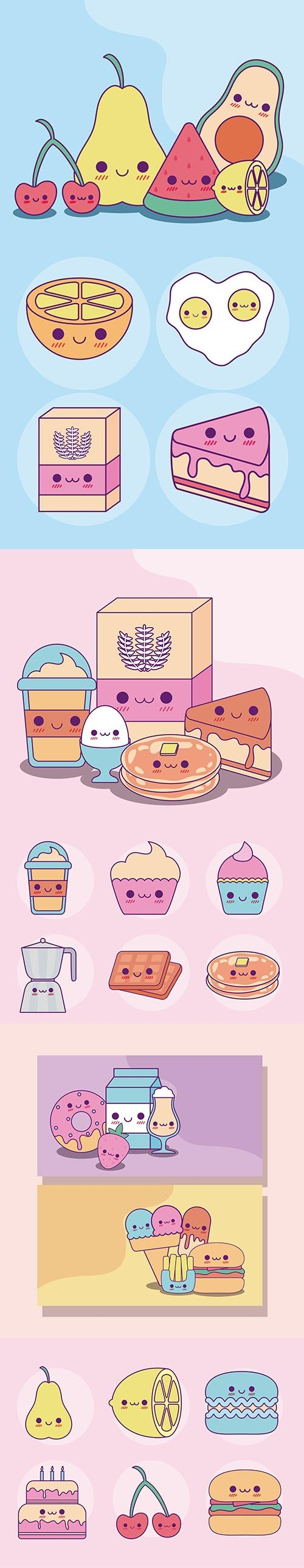 Kawaii food set cartoons design