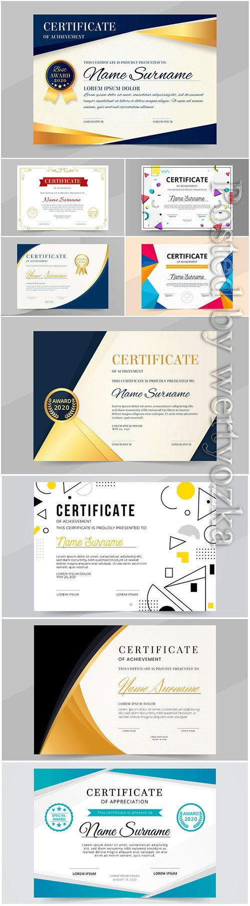 Professional diploma vector template