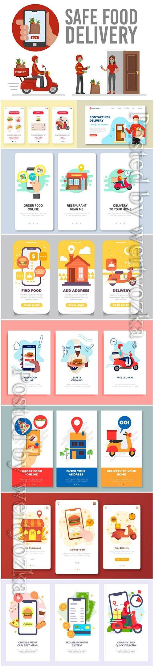 Food delivery app onboarding screens vector