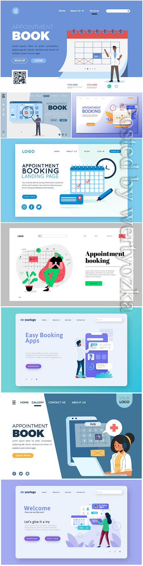 Appointment booking landing vector page