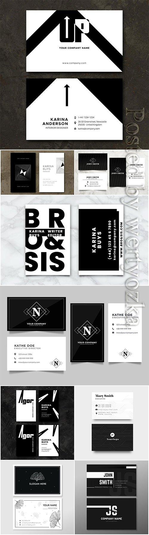 Monochrome business vector cards concept