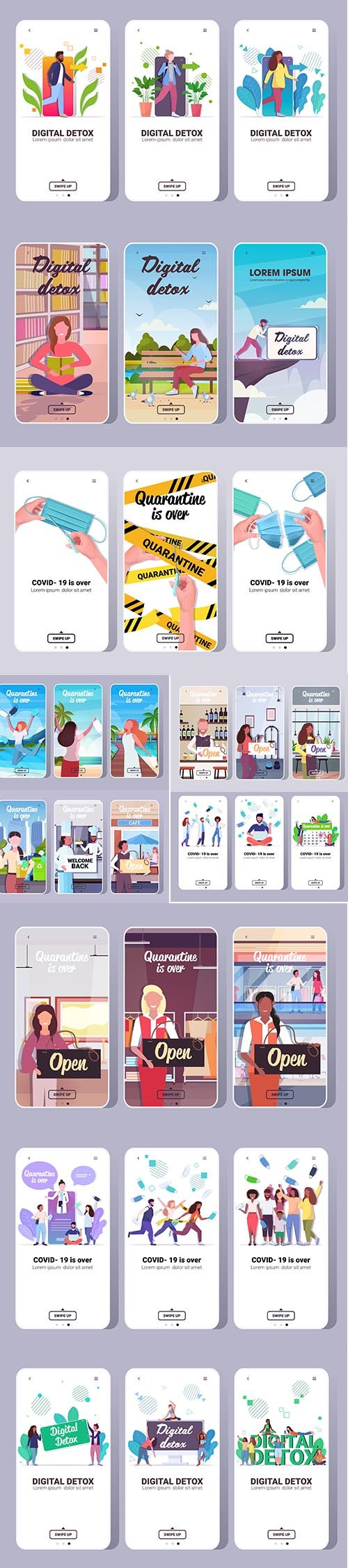 Different Live Illustration for Phone and app