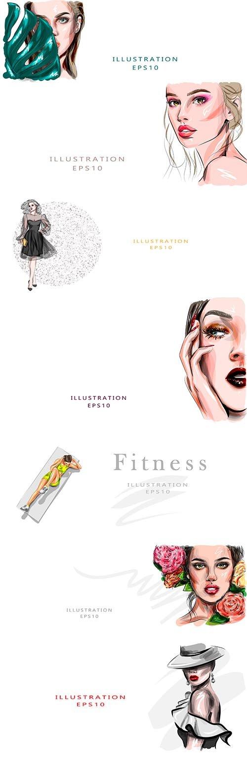 Hand-Draw Beautiful Women Illustrations