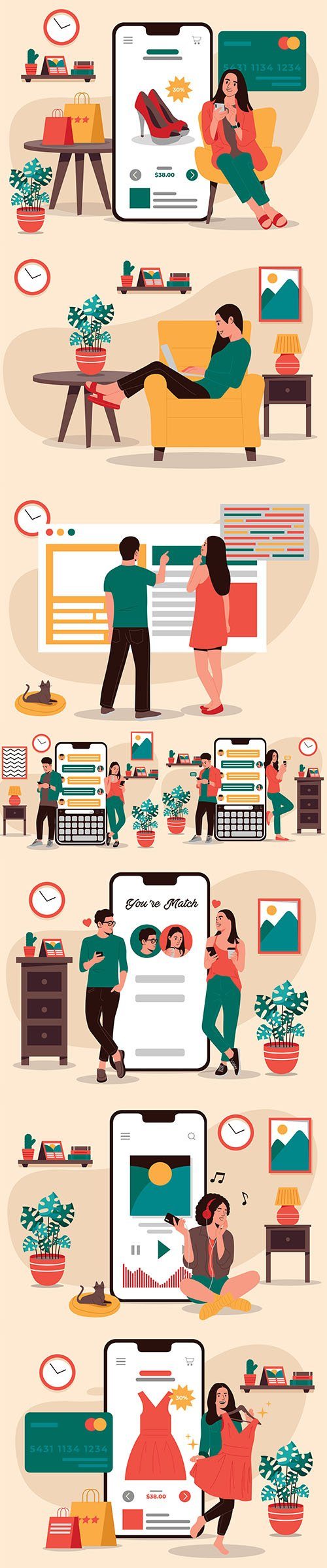 People shopping Apps Vector Illustrations