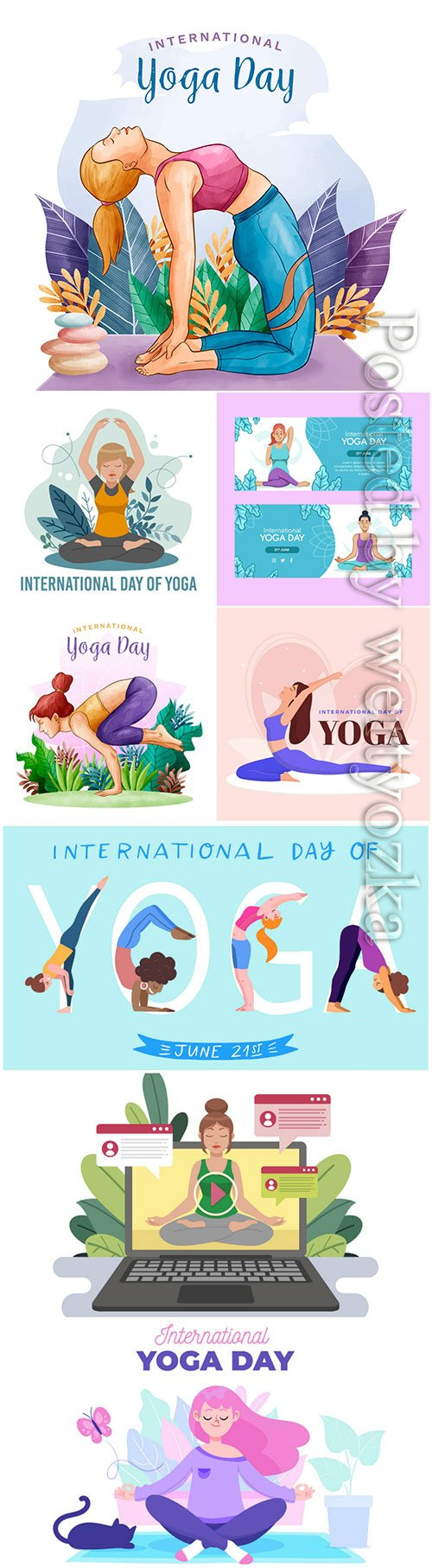 Watercolor international day of yoga vector set