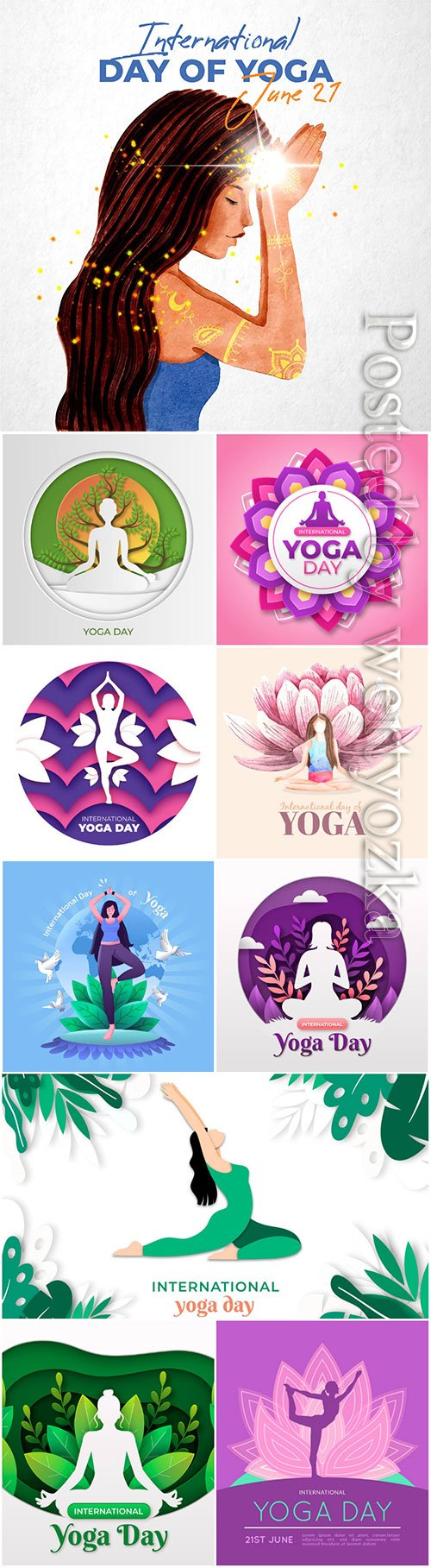 International day of yoga illustrated vector set