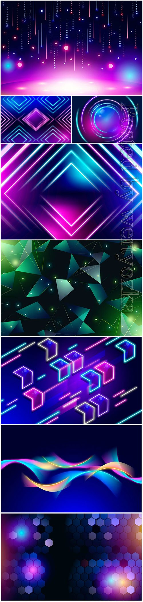 Neon abstract background vector set