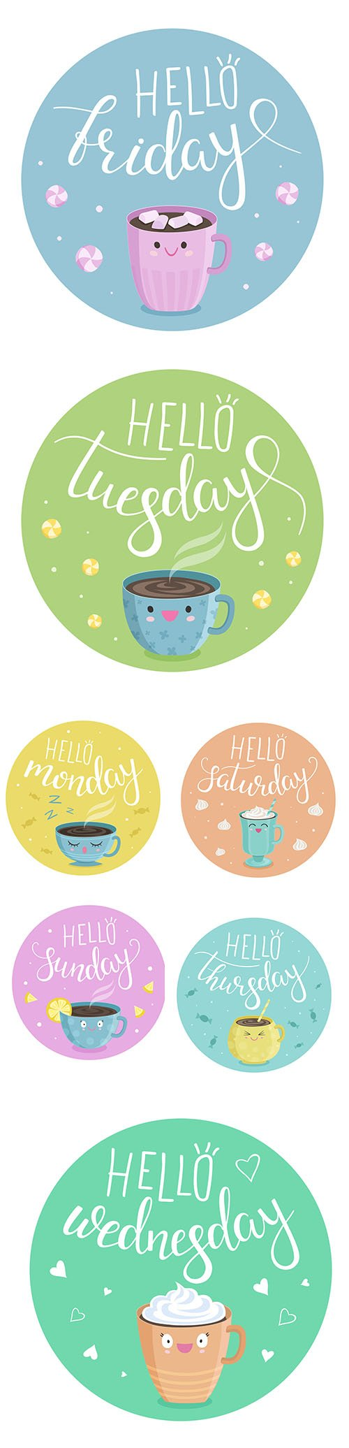 The Day of Week Cute Illustration