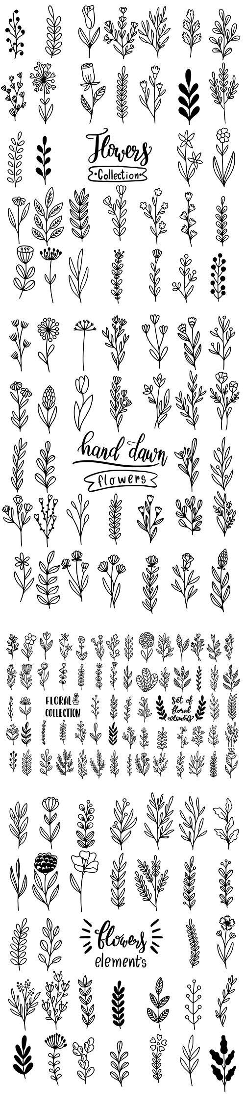 Hand-Draw Flowers Dooldle Set