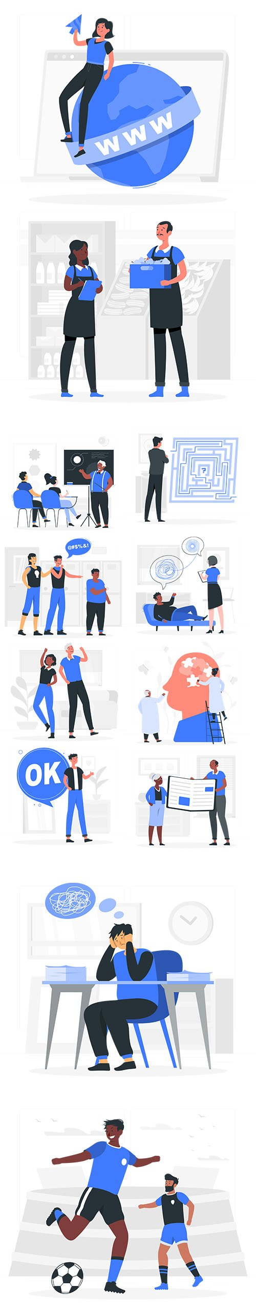 Vector Business and Live People Situations Illustrations