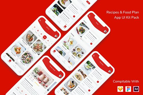 Recipes and Food Plan App UI Kit Pack