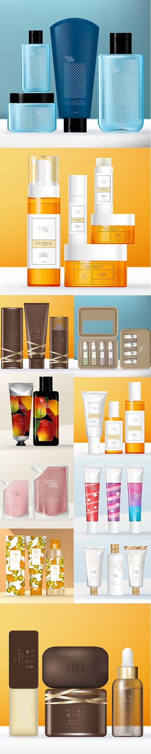 Cosmetics Packaging Collection Vector