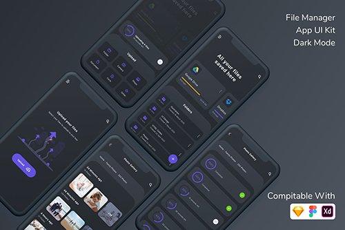 File Manager App UI Kit Dark Mode