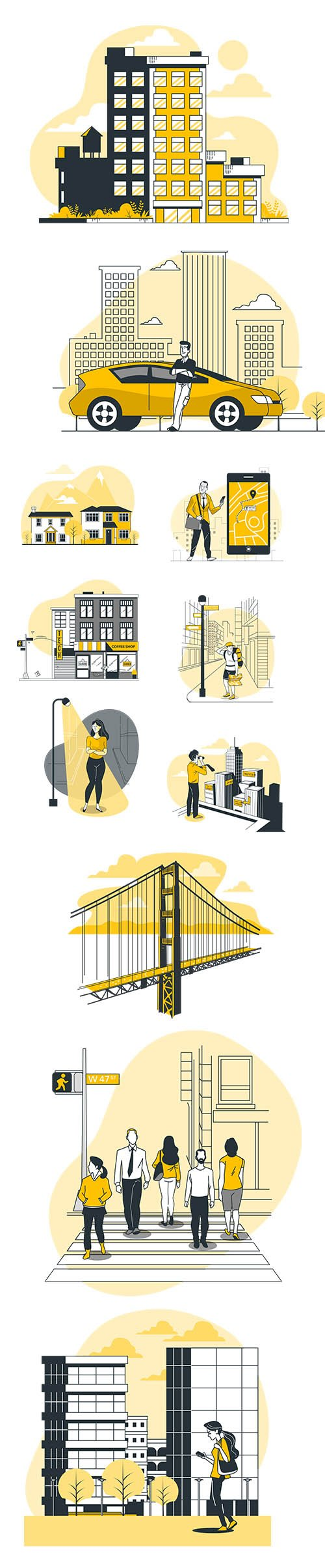 Vector People Live Situation Illustrations City Concept Vol 7