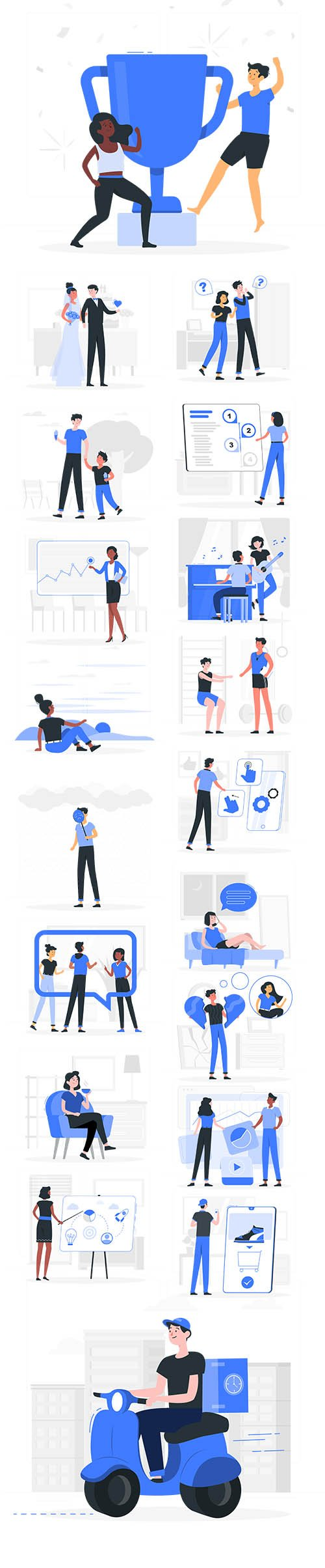 Vector People Live Situation Illustrations Vol 4