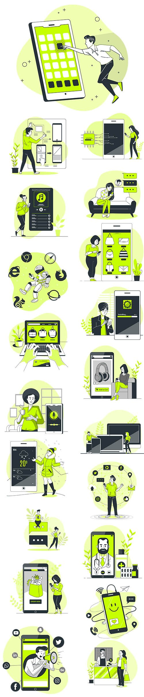 Vector People Live Situation Illustrations App Concept Vol 6