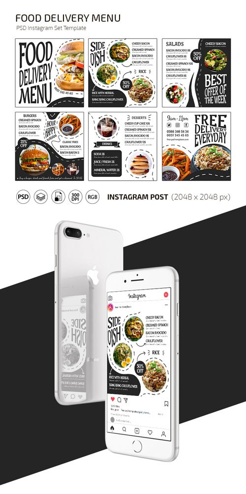 Food Delivery Menu Banner Set PSD Templates