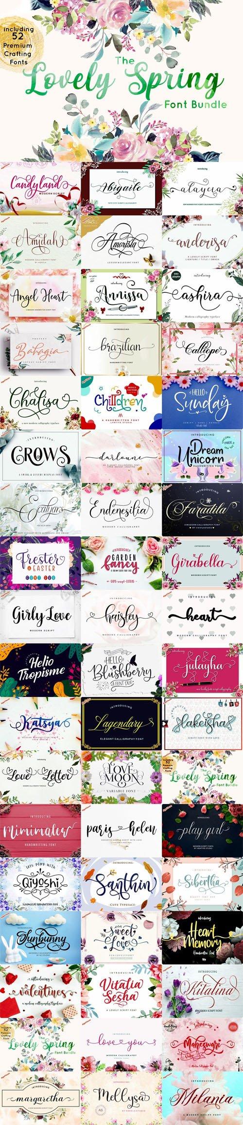 The Lovely Spring Font Bundle - Including 52 Premium Crafting Fonts