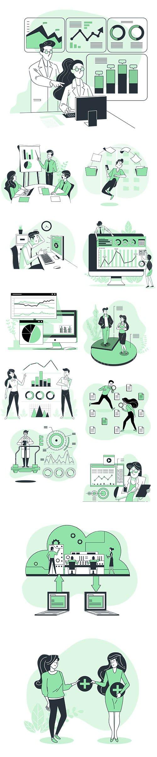 Vector Illustrations Data Concept Vol 2