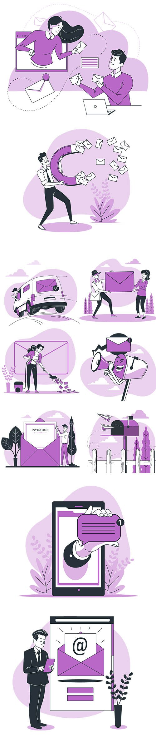 Vector People Live Situation Illustrations Email Concept Vol 8