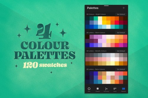 CreativeMarket - 3D Letters Toolkit for Procreate 4904895