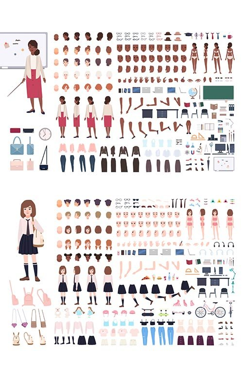Constructor Young Woman Character