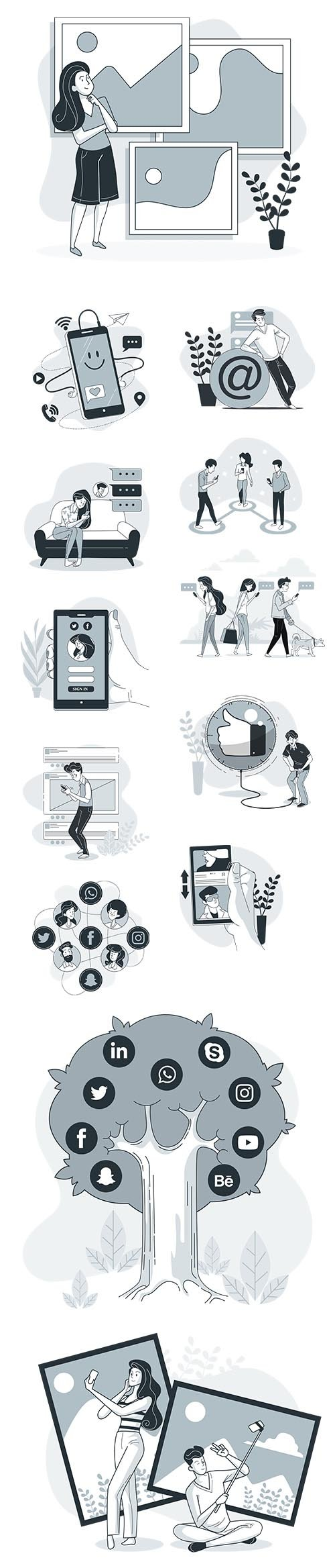 Vector Illustrations Social Media Concept Vol 2