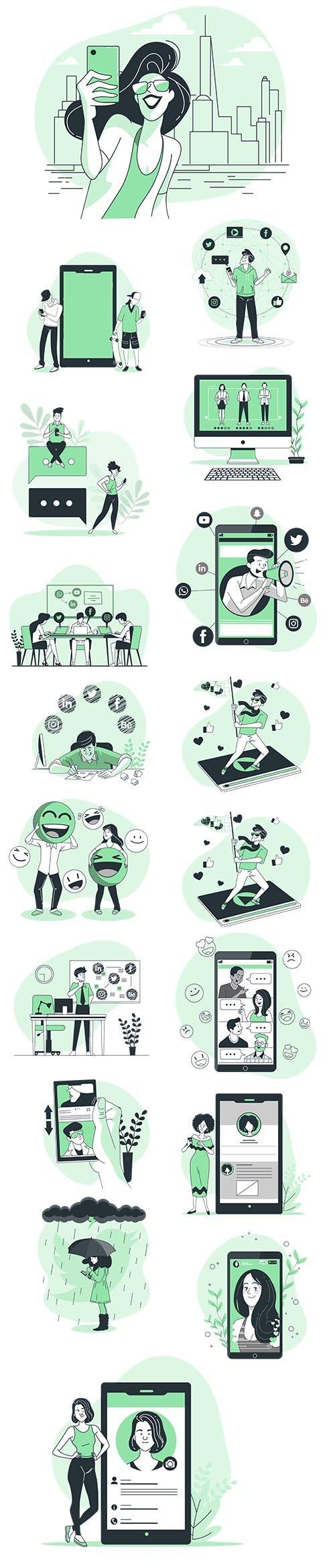 Vector Illustrations Social Media Concept
